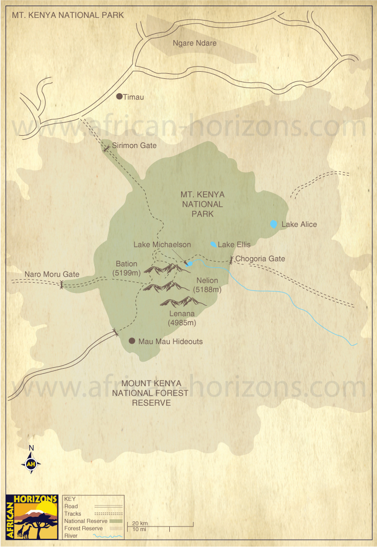 Map of Mount Kenya National Park Kenya National Parks Reserves