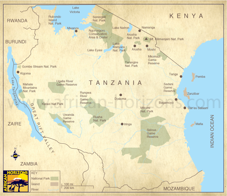 Map of Tanzania East African Holiday Safari Travel Tours