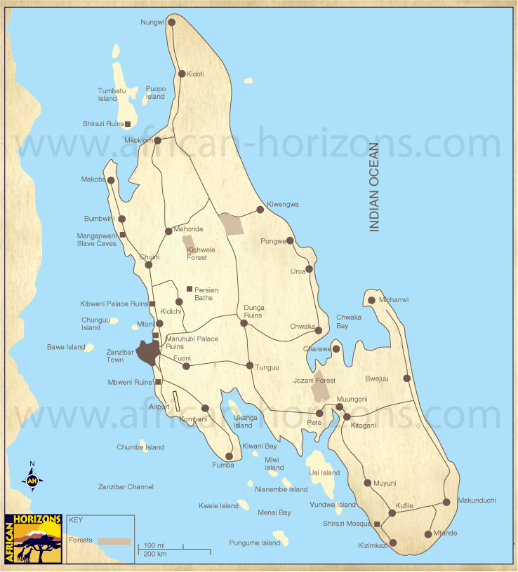 Map of Zanzibar East African Holiday Safari Travel Tours